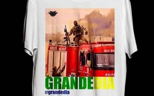 Camiseta vendida em loja mostra imagem do atirador de elite que acertou sequestrador do ônibus