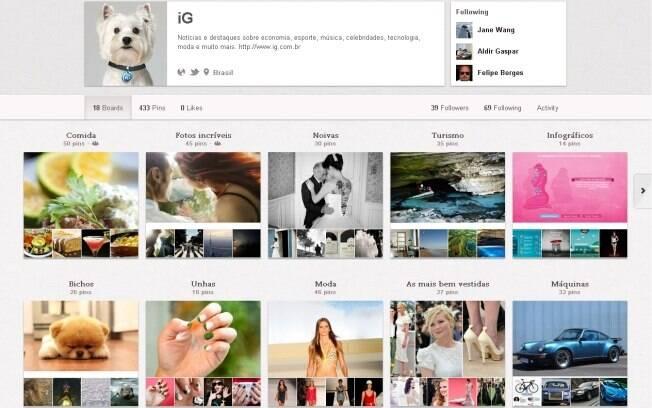 Página do iG no Pinterest mostra as imagens do dia em diversos murais temáticos