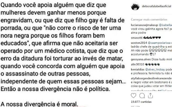 Famosas que aderiram às hashtags contra a eleição de Jair Bolsonaro como presidente da república em 2018