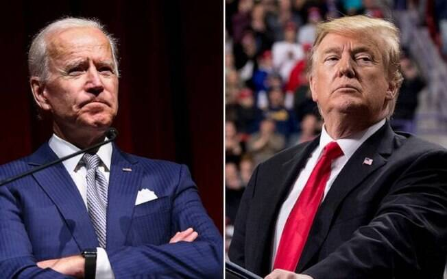 O republicano Donald Trump (dir) e o democrata Joe Biden (esq).