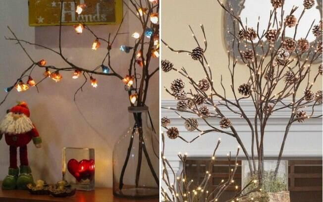 E que tal apostar nos galhos secos? Você ainda pode completar a decoração com outros itens temáticos de Natal