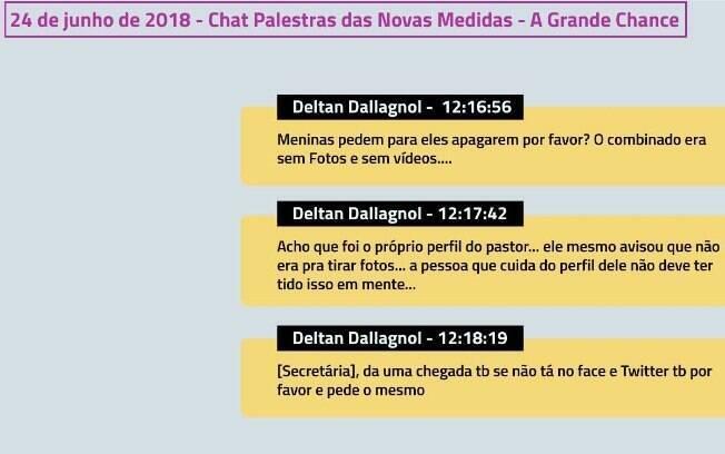 Diálogos de Deltan Dallagnol em chat privado do Telegram