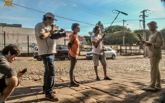 Caroline Moraes durante a produção de