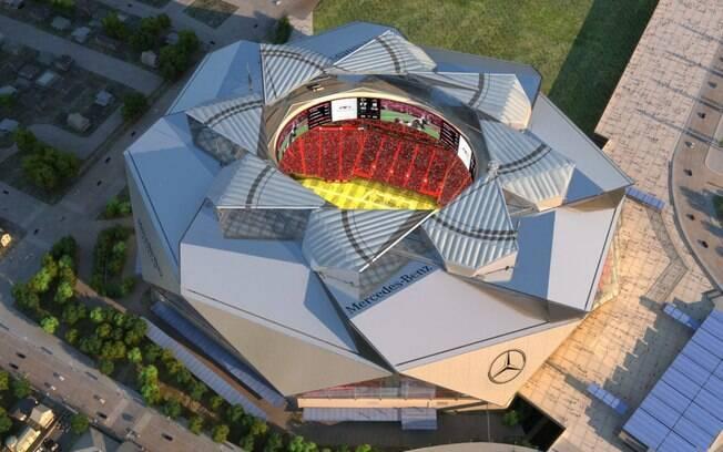 Projeto do estádio visto de cima; ele ficará pronto em julho