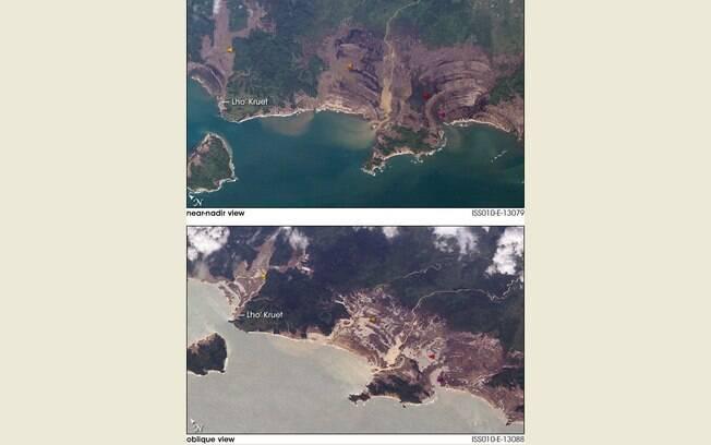 Imagens feitas por satélites, mostram regiões da Indonésia antes e depois do Tsunami de 2004. Foto: Nasa