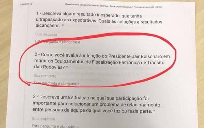 Questões pediam opinião sobre o governo Bolsonaro