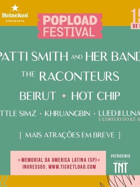 cartaz com o line up do festival popload de 2019