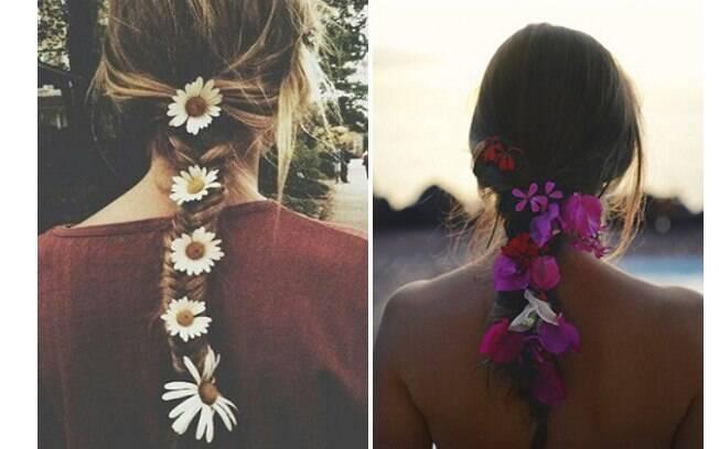 As tranças são os melhores penteados para adicionar flores ao Carnaval