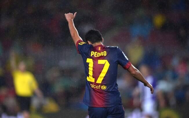 Pedro comemora gol para o Barcelona diante do  Valladolid no Espanhol