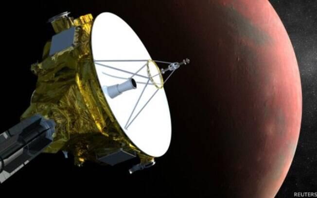 Representação da sonda New Horizons, que se aproxima de Plutão e fará fotos inéditas do planeta anão