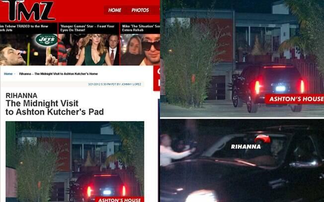 Rihanna e seu carro em frente à casa de Ashton Kutcher
