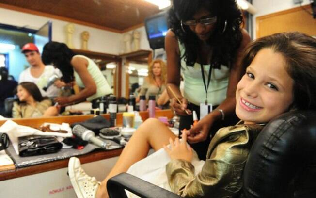 Sofia Raia, oito anos, nos bastidores de