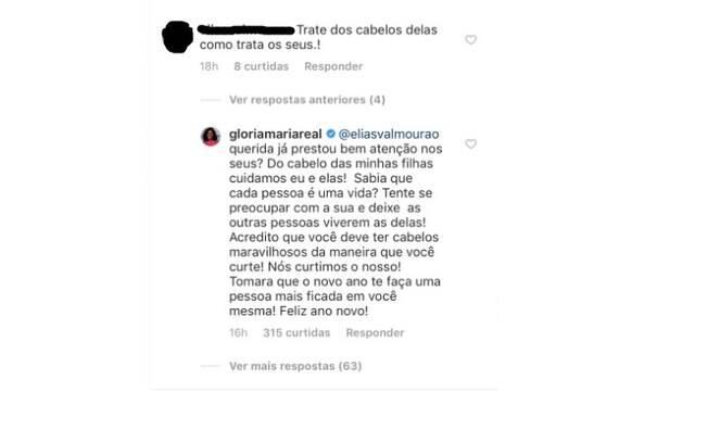 Internauta critica cabelos das filhas de Glória Maria e jornalista responde
