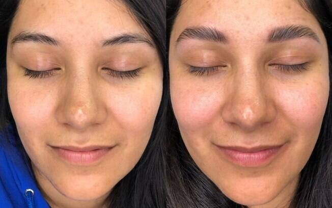 antes e depois da sobrancelha laminada