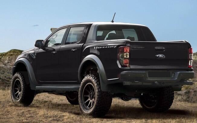 Ford Ranger Raptor preparada pela Hennessey ficou 6 cm mais alta e com visual ainda mais agressivo