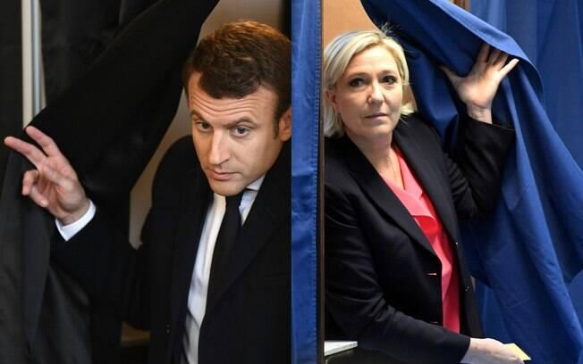 Os candidatos Macron e Le Pen votaram praticamente no mesmo horário, por volta das 7h deste domingo, nas eleições da França