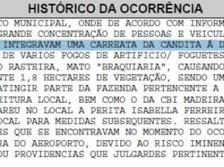 Boletim de Ocorrência da Polícia Militar confirma que fogos de artifício da carreata de Brunny Gomes atingiram a vegetação