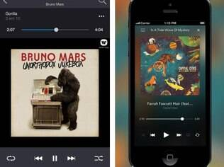Deezer (a direita) e Rdio tem versões de seus serviços para dispositivos móveis.