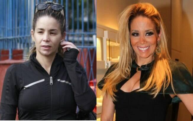 Danielle Winits circula de cara lavada no Rio. Na foto à direita a atriz aparece em evento em São Paulo, um mês antes