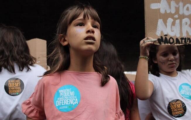 Jovem durante manifestação