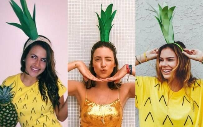Fantasias de carnaval: uma camiseta amareça e cartolina verde podem ser úteis para te transformar em um abacaxi