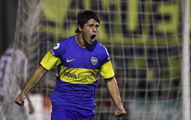Roncaglia comemora gol do Boca na Bombonera