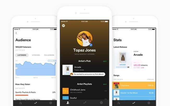 Spotify for Artists permite que donos das páginas destaquem faixas que estão ouvindo e alterem informações com rapidez
