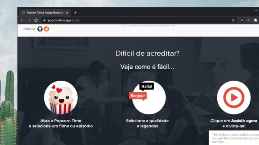 Popcorn Time é um site que faz streaming de filmes e séries pirateados