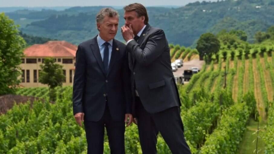 Ex-presidente da Argentina Mauricio Macri e presidente Jair Bolsonaro