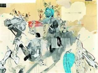 Artista emprega técnicas como a pintura e colagem em seus trabalhos