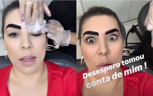 Naiara Azevedo confessa que ficou um pouco desesperada enquanto fazia a sobrancelha de henna