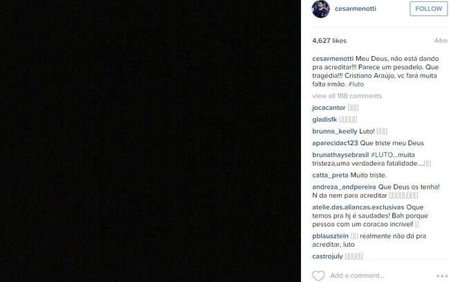 Famosos e colegas de Cristiano se solidarizam nas redes sociais.