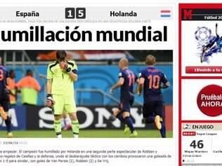 Site do Marca não poupou os campeões mundiais depois da goleada sofrida para a Holanda em Salvador
