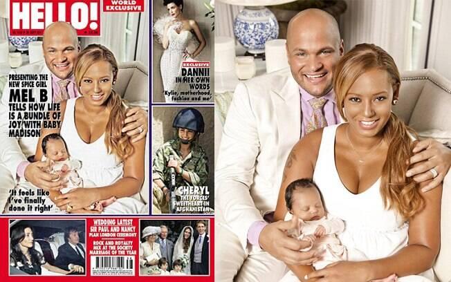 Mel B com o marido e a filha na capa da revista