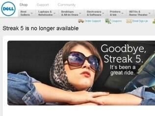Página oficial da Dell anunciando o fim do Streak 5