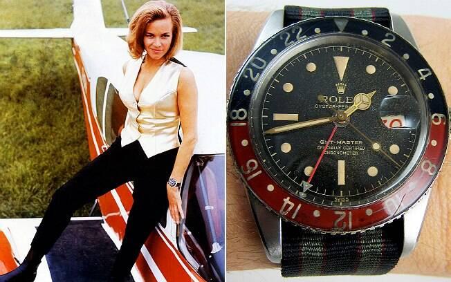 Pussy Galore (Honor Blackman) e, no detalhe, o Rolex GMT Master com pulseira de náilon