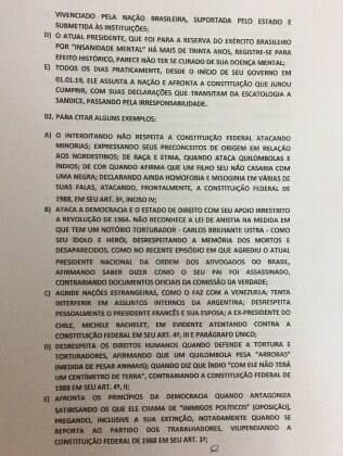 Ação contra Bolsonaro por insanidade mental