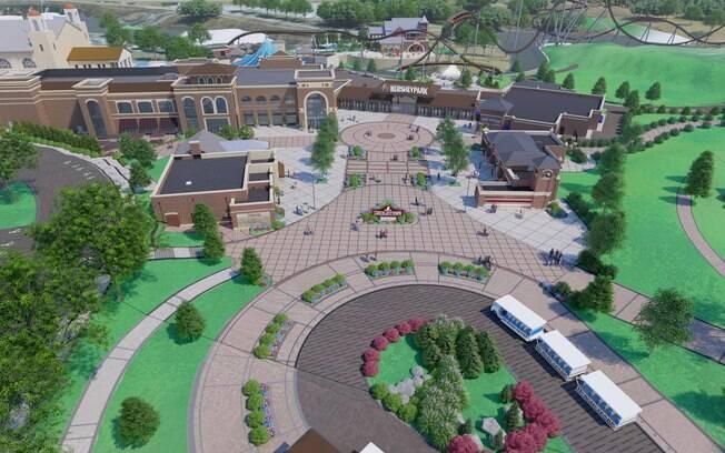 Vista aérea computadorizada da nova área do Hersheypark
