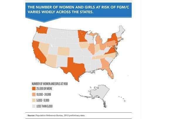 Mapa mostra áreas de risco para mulheres e meninas que podem ser circuncidadas nos EUA