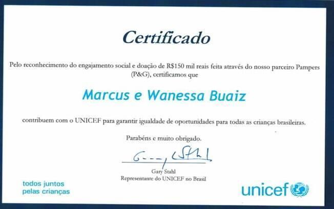 Certificado de doação do cachê
