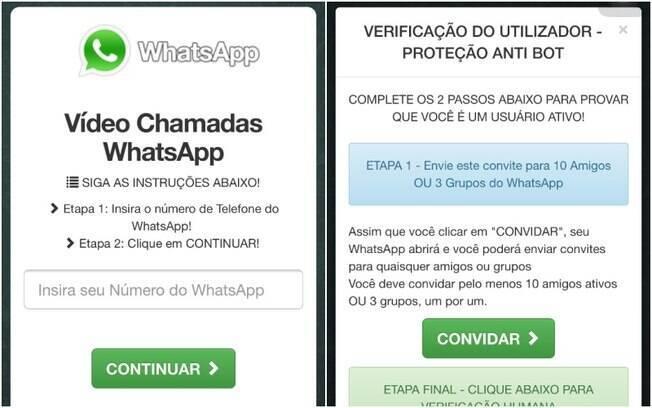 Página solicita o número do celular e o compartilhamento para dez contatos ou três grupos