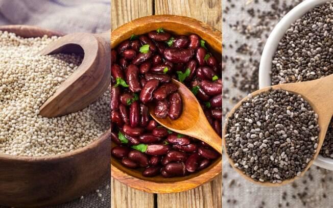 Quinoa, feijão e chia estão entre as fontes de proteína vegana
