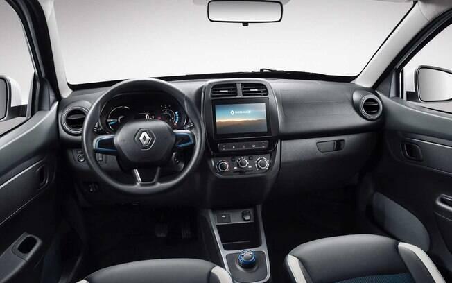 No painel do Renault Kwid reestilizado, a central multimídia passará a ter tela sensível ao toque maior, de 8 polegadas