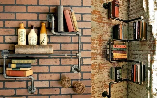 Você pode fazer estantes de livros de canos expostos para uma decoração mais rústica