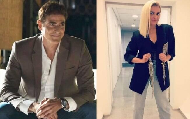 Reynaldo Gianecchini se diverte com Monica Iozzi nos bastidores de novela