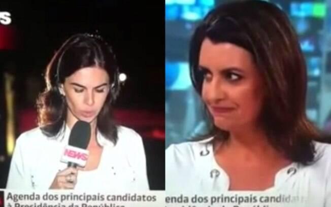 Fernanda Galvão e Carla Lopes durante gafe ao vivo no Jornal da GloboNews