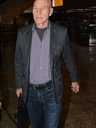 Patrick Stewart, o professor Xavier da série X-Men, desembarcou em SP