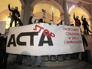 Em janeiro, poloneses protestaram contra o ACTA