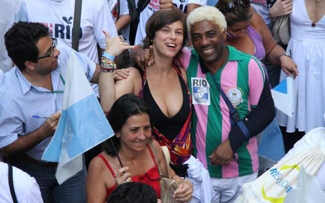 Animados, Maria Paula e Ivo Meirelles se divertiram entre os manifestantes