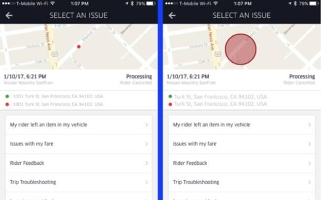 Ao invés do endereço exato, aplicativo passará a mostrar apenas a área do embarque e desembarque dos passageiros